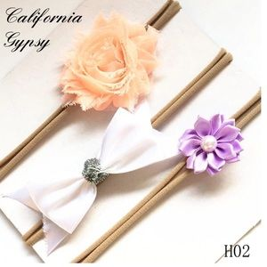 JUST IN🎉Baby nylon floral bow headbands set